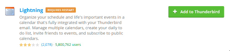 The lightning plugin for Thunderbird (click to enlarge)