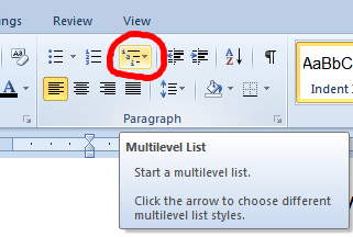 Screenshot showing the MS-Word multi-level list selection.