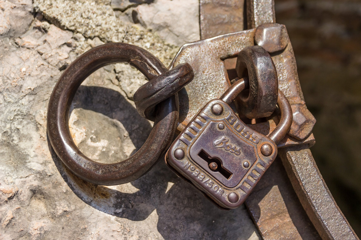 Old buckle and padlock