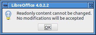Error message: Readonly content cannot be changed. No modifications will be accepted.