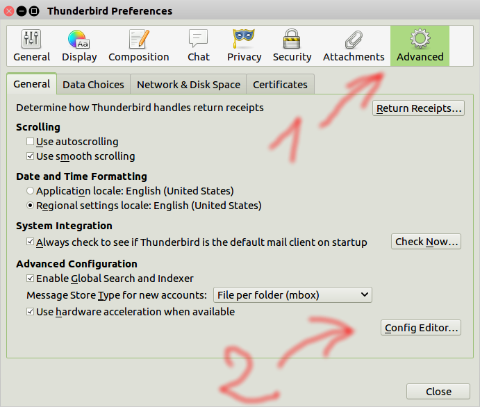 The preferences, select Advanced, then click on Config Editor.