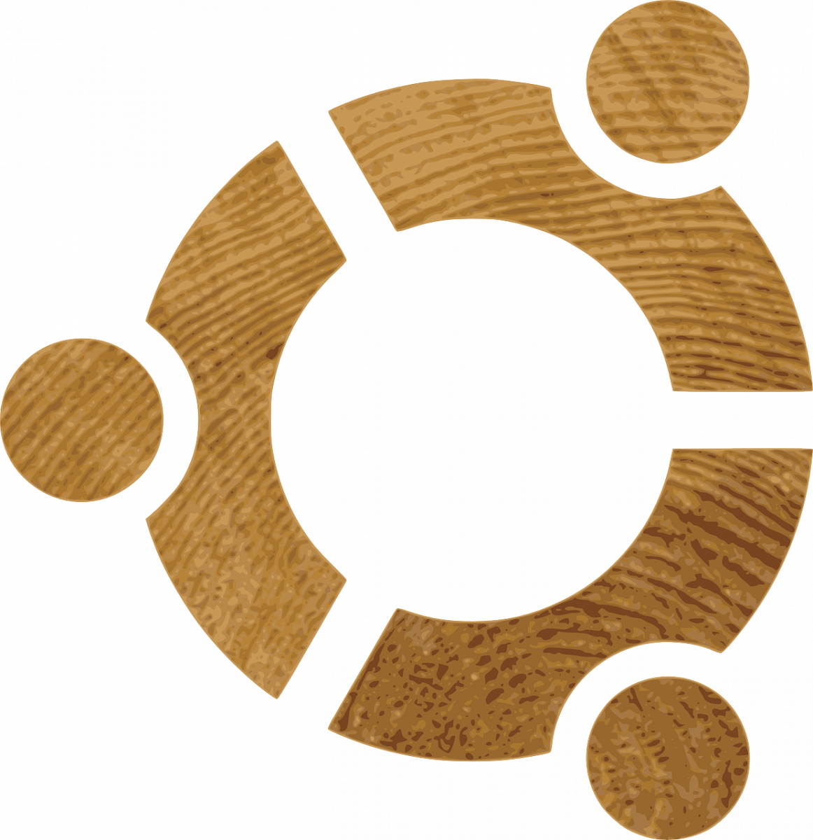 The Ubuntu Logo using a wood texture