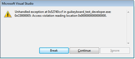 Unhandled exception in ... Access violation reading location 0x0000...