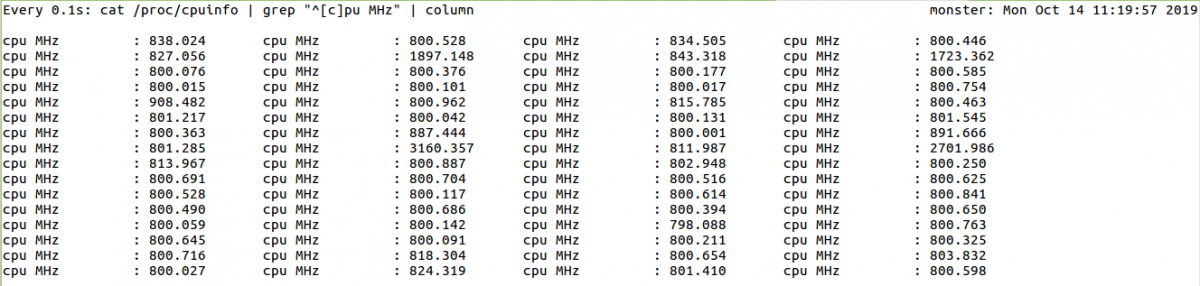 CPU frequencies as I run one large compression.