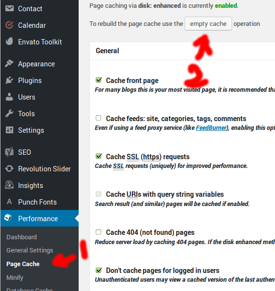 Wordpress » Performace » Page Cache » Empty Cache